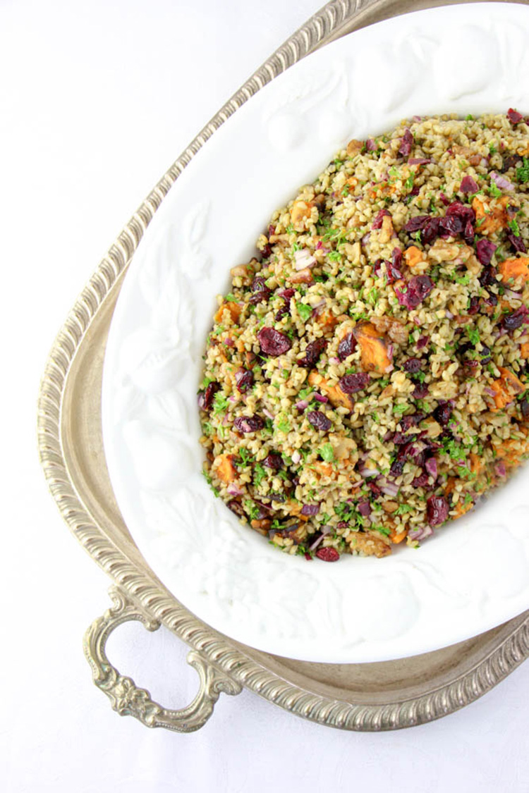 Freekeh, sweet potato and cranberry salad.