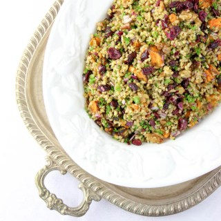 Freekeh, kumara and cranberry salad