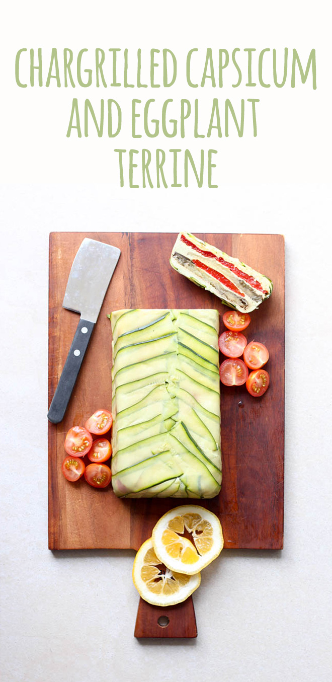 This chargrilled capsicum and eggplant terrine is a stunning vegan Christmas dish which can take pride of place either instead of or alongside the more traditional dishes.