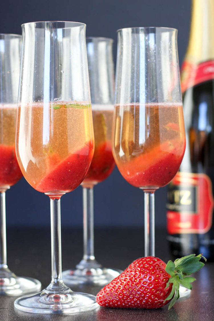 Strawberry and basil champagne cocktail.