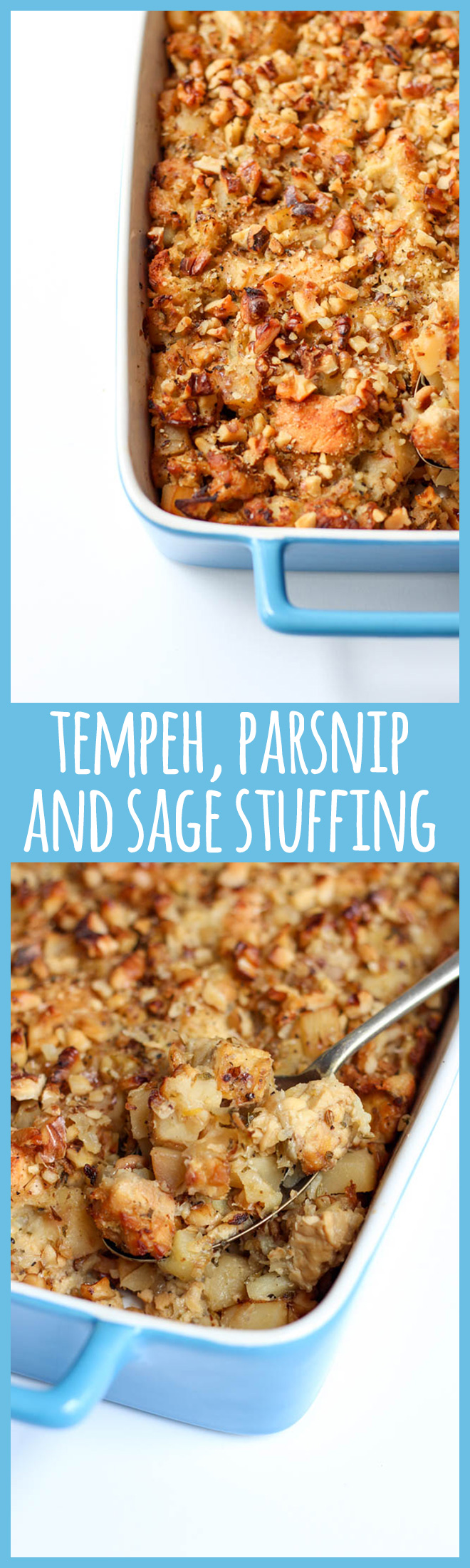 This delicious vegan stuffing features tempeh, parsnip, apple, sage and walnuts. It's packed with flavour and perfect to feed a crowd at Christmas or your next potluck.