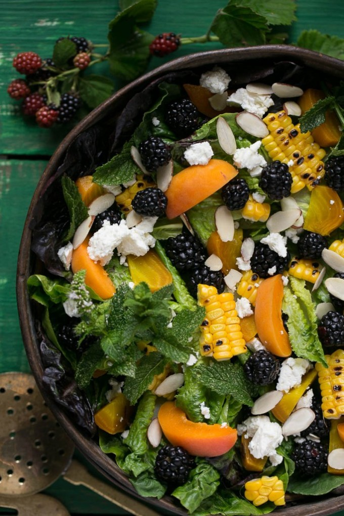 Blackberry apricot salad.