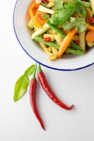 Sunshine curry - a Thai style vegetable curry with a sunflower seed based sauce.