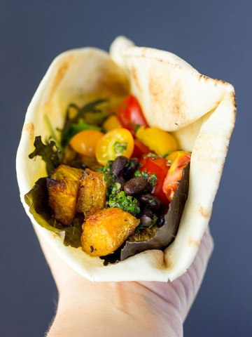 Black bean and butternut wraps with chimichurri sauce.