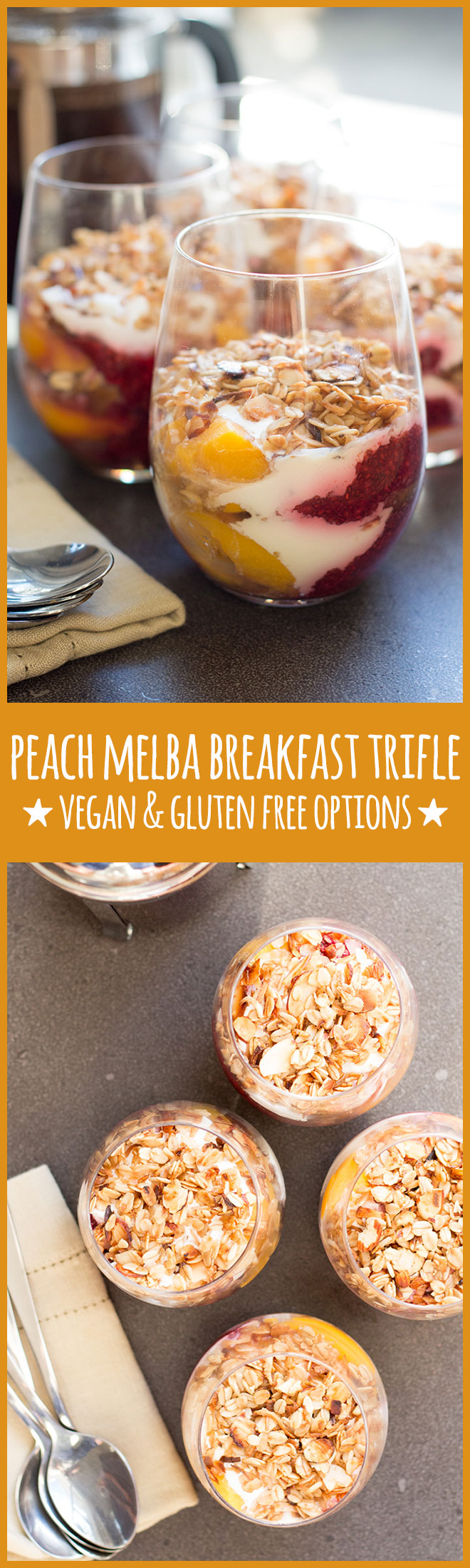 The tried and true peach melba combo of peaches and raspberries works perfectly in this healthy-ish breakfast trifle. Gluten free and vegan optional.