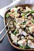 Fresh fig, grape and walnut salad with grape vinaigrette.