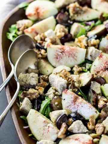 Fig, grape and walnut salad with grape vinaigrette.