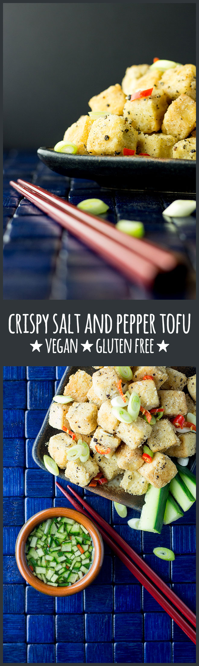 Crispy salt and pepper tofu with a cucumber and chilli dipping sauce is a moreish little nibble to have with drinks, or serve it up with sticky rice and steamed greens for a simple but yummy dinner.