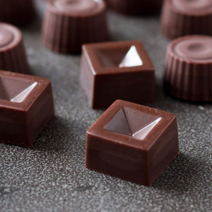Salted date caramel raw vegan chocolates.