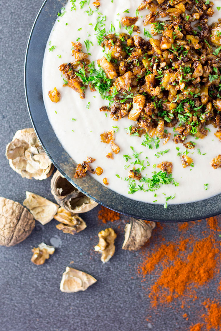 Cauliflower and walnut soup with a smoky crumb topping.