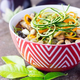 Thai zoodle soup with eggplant and peanuts.