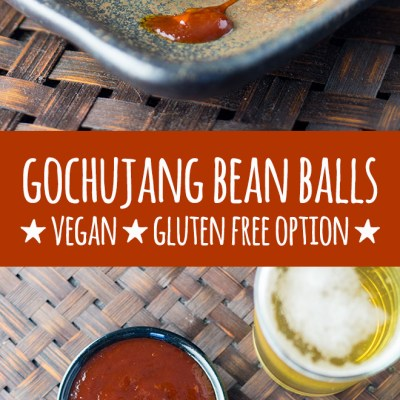 Gochujang is the star of the show in this full on, flavour packed, Korean style take on vegan meat balls made with black beans, oats, walnuts and chia seeds. These bean balls are perfect for parties and social gatherings. Gluten free option available.