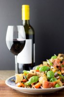 Red pepper and lentil panzanella.