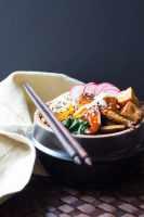Vegan bibimbap: sticky rice, sesame sauteed vegetables, crispy tofu and gochujang sauce.
