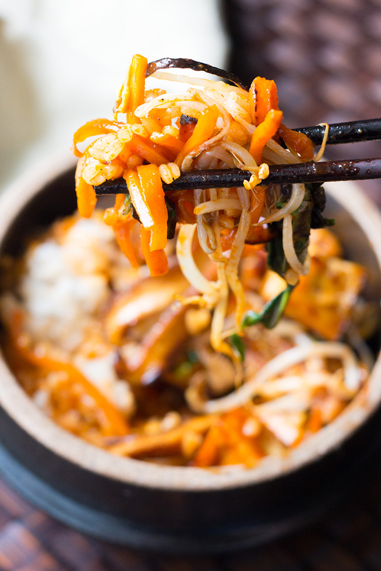 Vegan bibimbap: sticky rice, sesame sauteed vegetables, crispy tofu and gochujang sauce.
