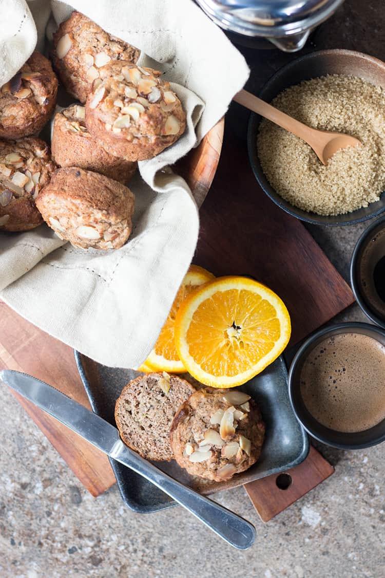 Almond, apple and banana vegan breakfast muffins.