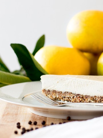Grapefruit and black pepper vegan cheesecake.