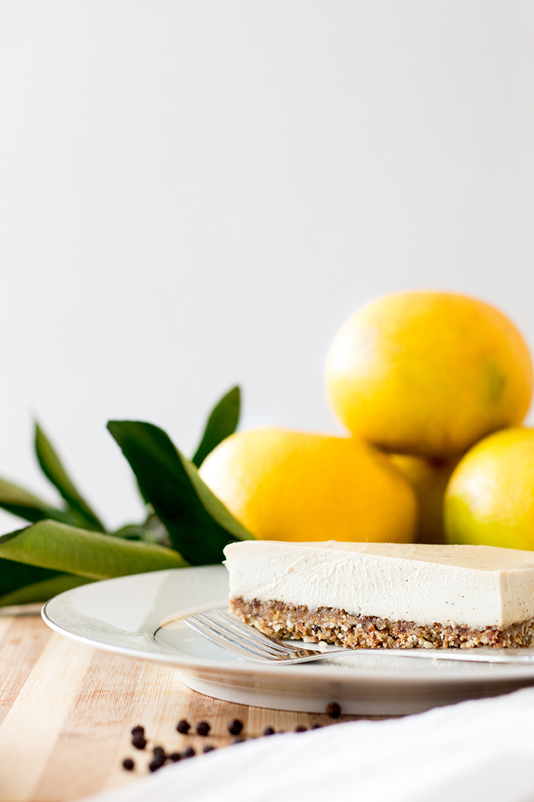 Grapefruit and black pepper vegan cheesecake (gluten free).