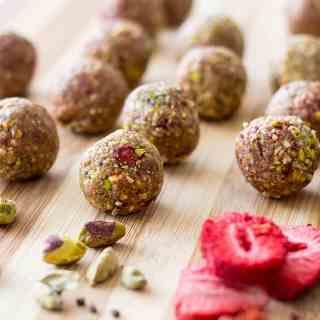 Pistachio, cardamom and strawberry bliss balls.