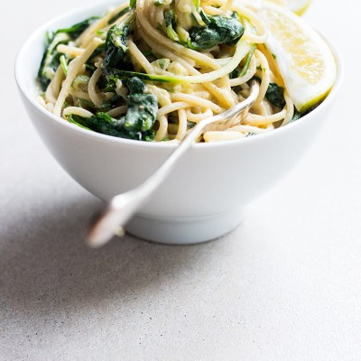 10 minute hummus pasta with zoodles, greens and lemon (vegan, gluten free optional).