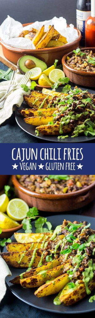 Cajun chili fries with avocado cilantro sauce.