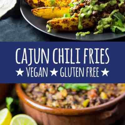 Cajun chili fries with avocado cilantro sauce.