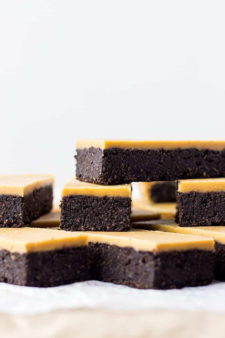 Chocolate peanut butter fudge bars (vegan and gluten free).