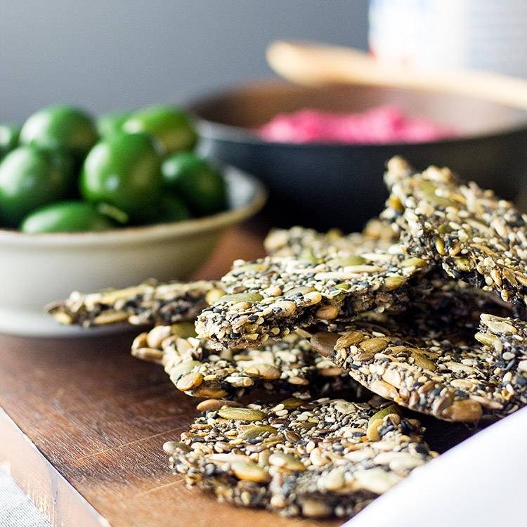 Easy home made five seed crackers