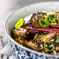 Spicy stir fried Szechuan eggplant