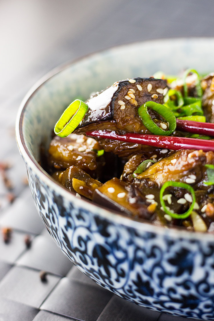 Spicy Szechuan eggplant (vegan, with gluten free option).