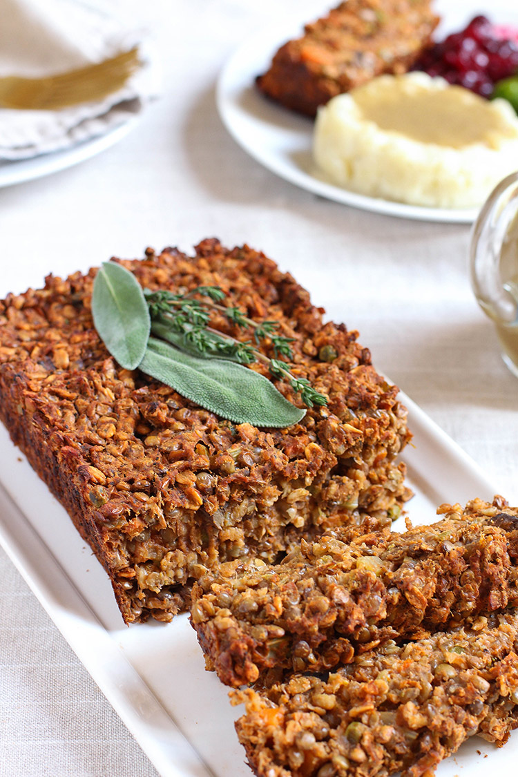 Lentil loaf with brown onion gravy (vegan and gluten free).
