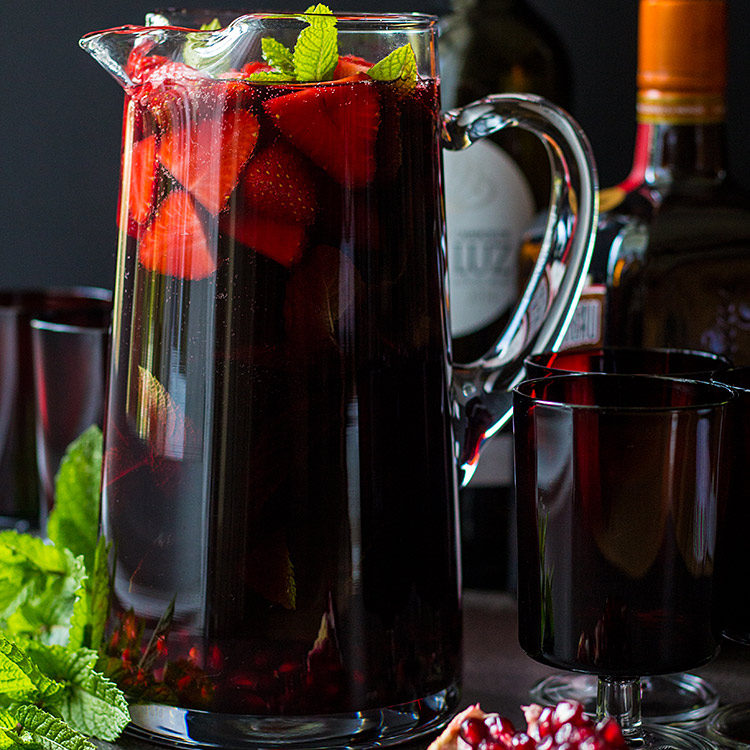 Pomegranate and strawberry red wine sangria