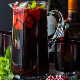 Pomegranate and strawberry red wine sangria.
