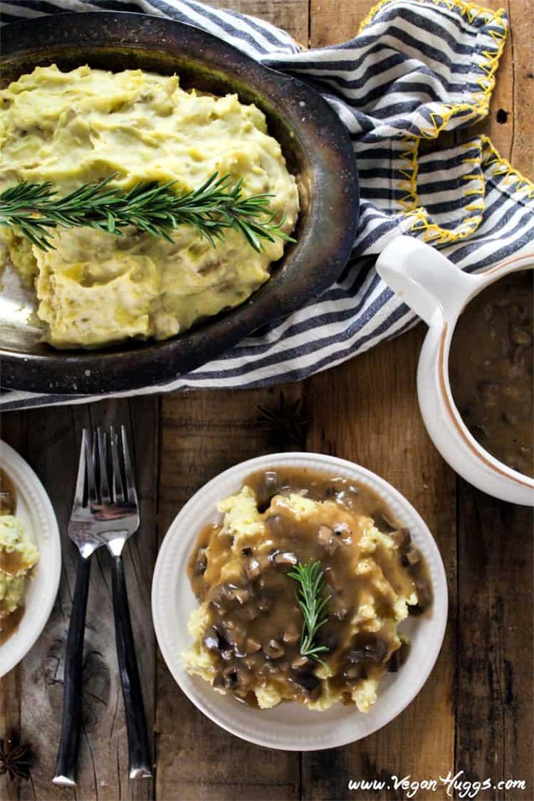 Vegan mashed potatoes with mushroom gravy.