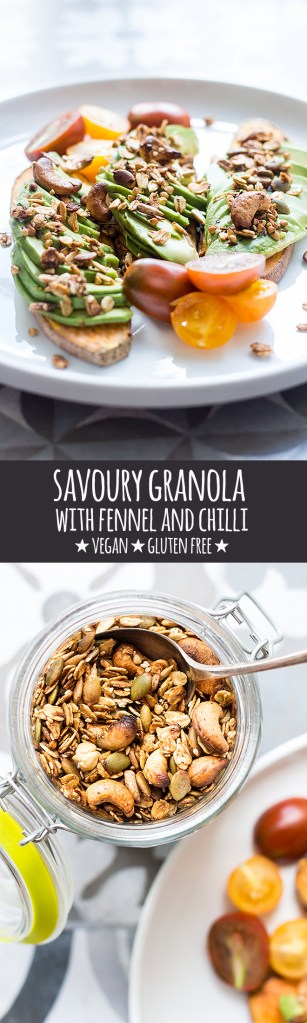 Crunchy, savoury granola spiced with fennel, chilli, cumin and coriander is a delicious snack or topping for avocado toast, salads and soups.