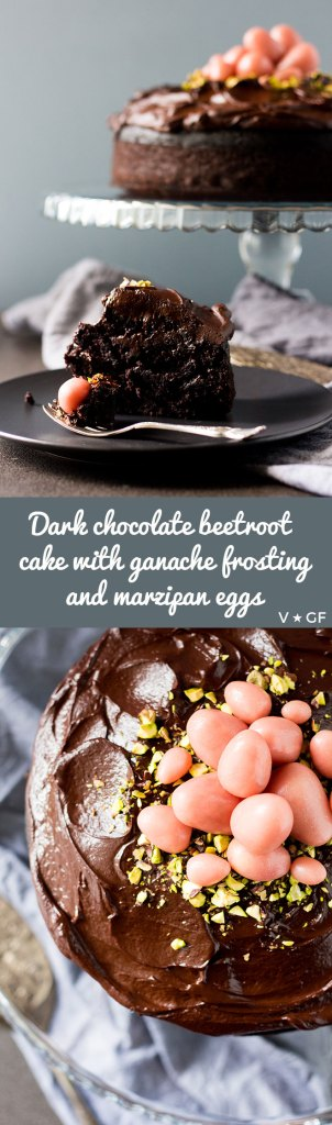 A vegan and gluten free dark chocolate beetroot cake with chocolate ganache frosting and marzipan eggs, perfect for Easter or any celebration.