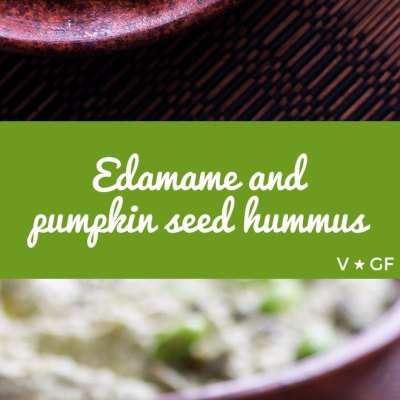A non-traditional but satisfying and familiar tasting edamame hummus made with nutritious edamame beans and pumpkin seeds.