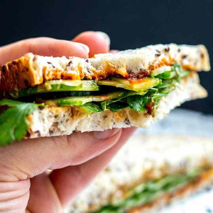 Crazy good gochujang and peanut butter sandwiches (vegan).