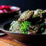 Broad bean falafel with tahini sauce (vegan and gluten free).