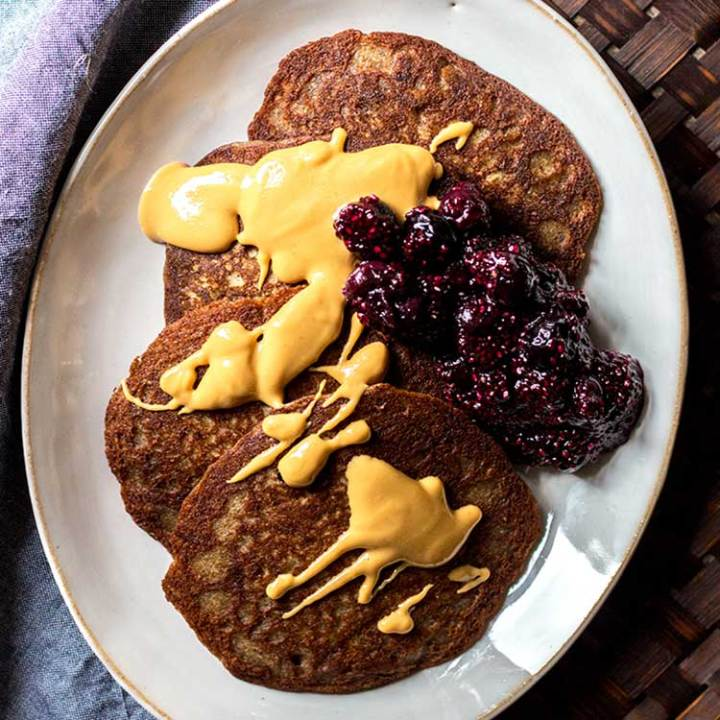 Buckwheat pikelets with blueberry chia jam.