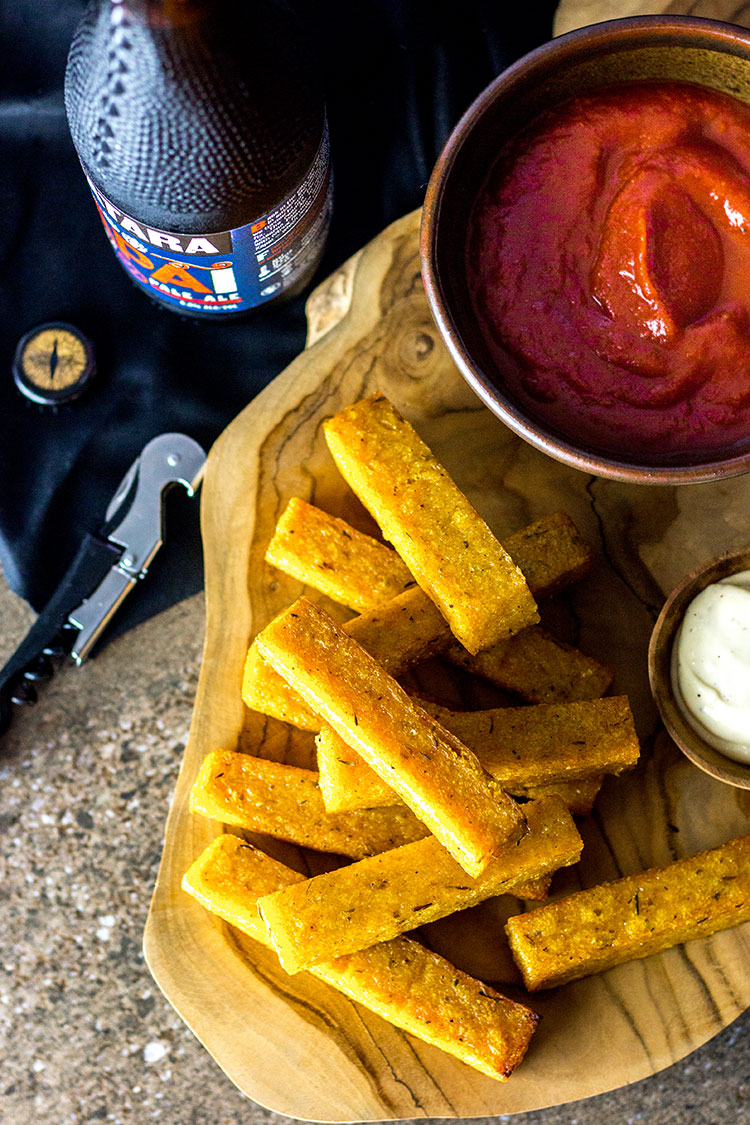 Cajun polenta fries with smoky tomato sauce (vegan and gluten free).