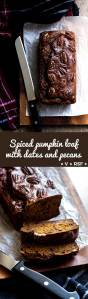 A dark and moist pumpkin loaf sweetened with dates, fragrant with pumpkin pie spices and topped with pecans (vegan and refined sugar free).