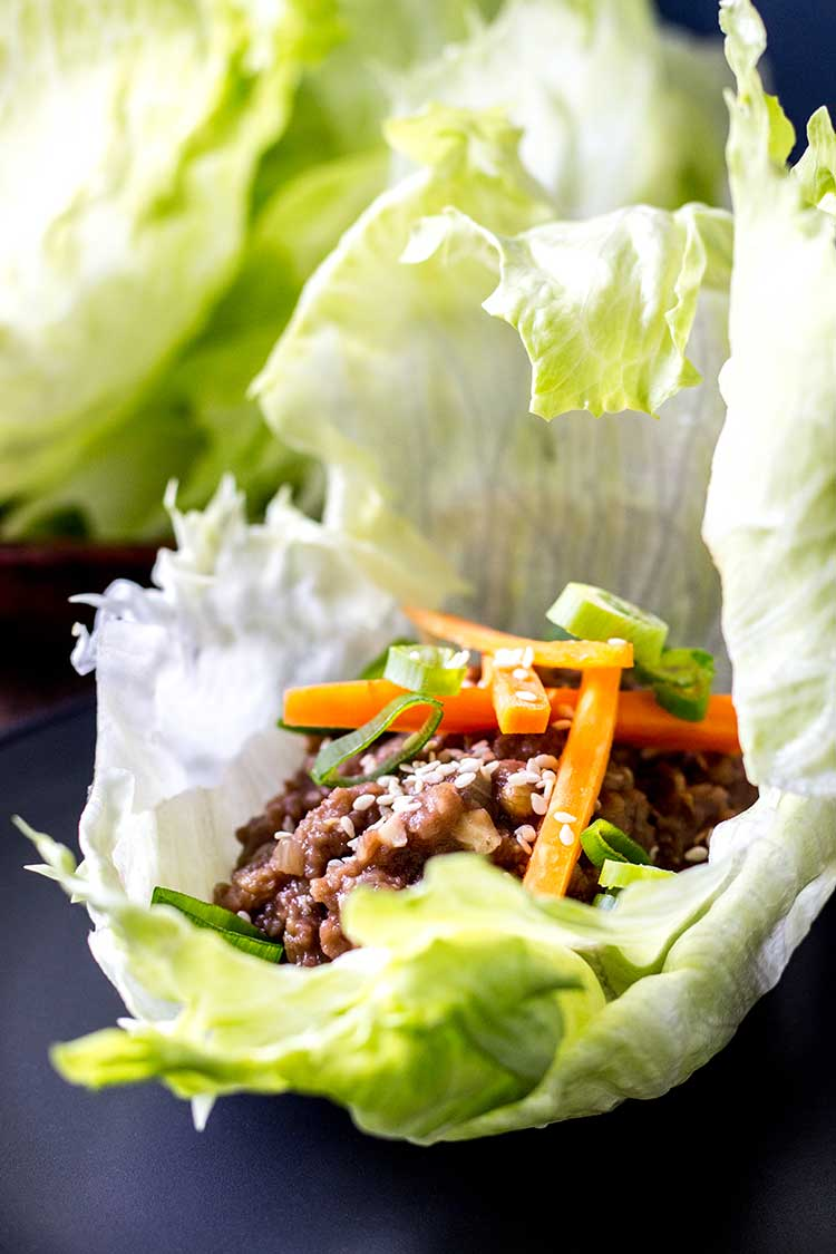 Close up view of oh mommy umami lettuce wraps from Fuss-Free Vegan: 101 Everyday Comfort Food Favorites, Veganized. (Vegan and gluten free).