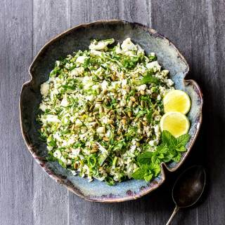 Cauliflower salad with lime and herbs