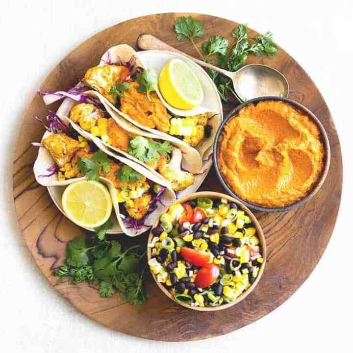 Cauliflower tacos with smoky almond chipotle salsa.