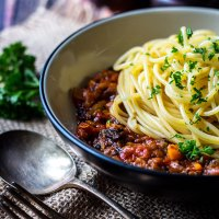 Mushroom and lentil vegan spaghetti bolognese
