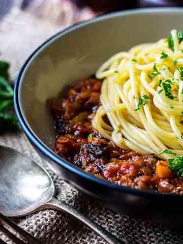 Mushroom and lentil vegan spaghetti bolognese.