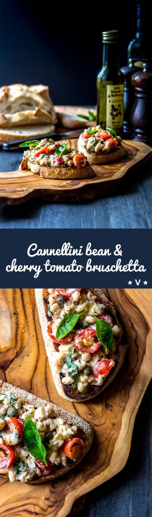 An uncomplicated but delicious vegan bruschetta topping made with cannellini beans, cherry tomatoes, basil and capers. Get it on the table in under 10 minutes, and tick all the nutritional boxes too.