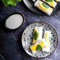 Thai mango sticky rice summer rolls (vegan and gluten free).