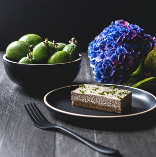 Feijoa and mint vegan cheesecake